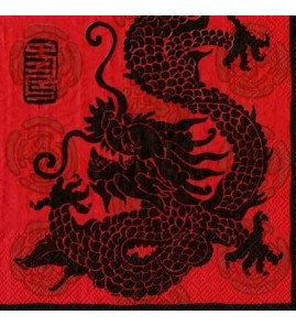 Serviette dragon fond rouge