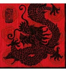Serviette dragon fond rouge