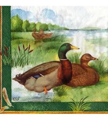 Serviette canards au bord du lac