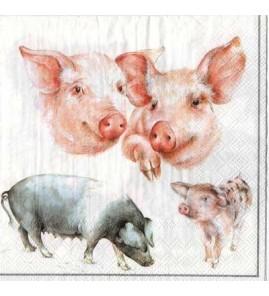 Serviette cochons pastel