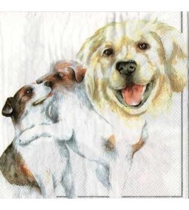 Serviette  chiens pastel