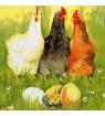 Serviette  3 poules recto, coq verso
