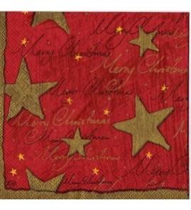 Serviette étoiles dorées fond rouge