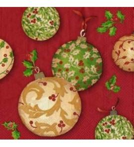 Serviette boules de Noël fond rouge