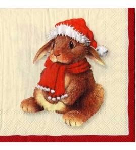 Serviette lapin de Noël