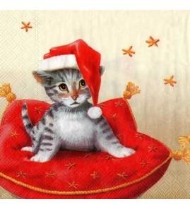 Serviette chatons de Noël