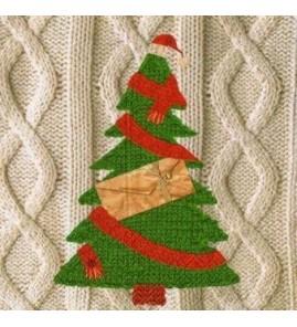 Serviette sapin tricot