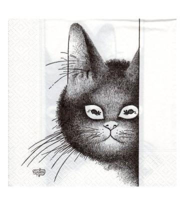 Serviette chat dubout-yeux doux