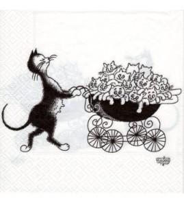 Serviette chat dubout-famille nombreuse