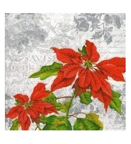 Serviette Poinsettia fond or