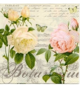Serviette Botanique 2 roses