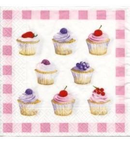 Serviette Cupcakes roses
