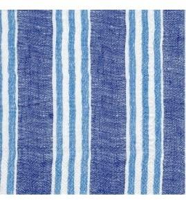 Serviette lin rayures bleues