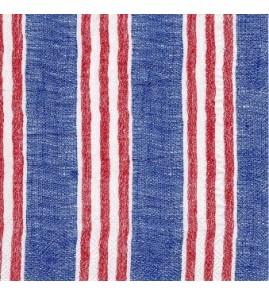 Serviette lin bleu rayures rouges