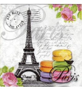 Serviette Tour Eiffel , macarons