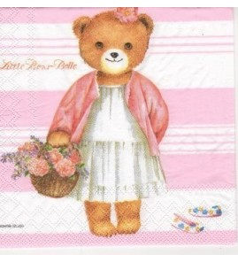 Serviette « little bear rose »