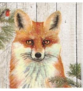 Serviette «renard fond bois»