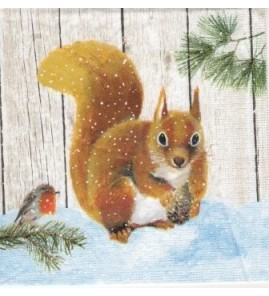 Serviette «écureuil fond bois»