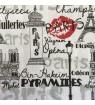 Serviette Paris écriture noire et rouge