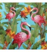 Serviette flamands roses fond tropical