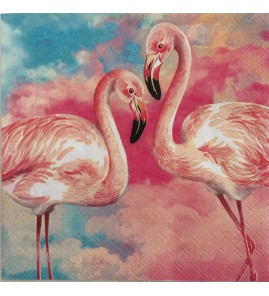 Serviette couple flamands roses