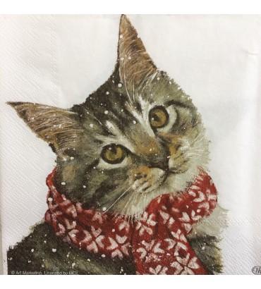 Serviette kitty écharpe rouge