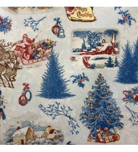 Serviette noël blue