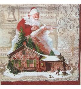 Serviette père Noël chalet