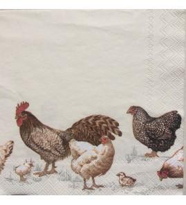 Serviette poules bande