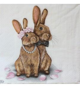 Serviette lapin collier