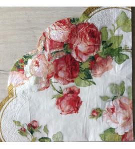 Serviette en papier ronde roses victoria