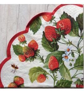 Serviette en papier ronde fraises