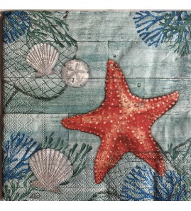 Serviette crab and starfish