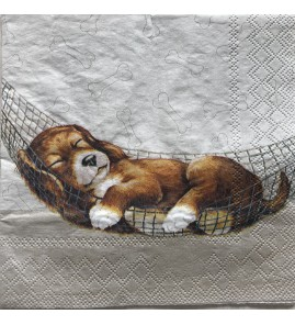 Serviette dreaming dog