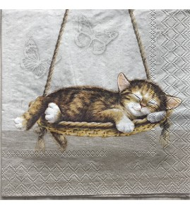 Serviette dreaming cat