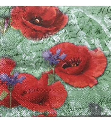 Serviette painted poppies