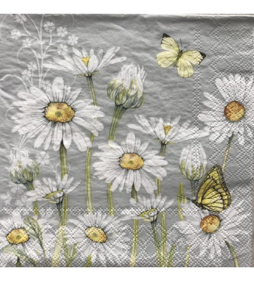 Serviette daisy grey